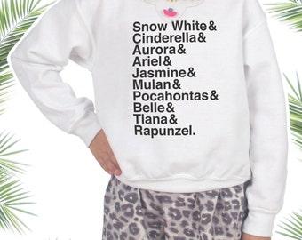 Children's Princess Names Jumper Sweater Slogan Fashion Kids Gift Cinderella