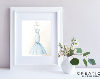 Fashion Illustration Original Watercolor Painting Art - Light Baby Blue Dress with Swarovskis - 210x297mm