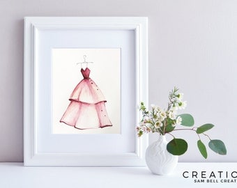 Fashion Illustration Original Watercolor Painting Art - Crimson Red Gown Dress with Swarovskis - 210x297mm