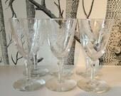 Vintage Crystal Glasses with Stars Set of Six Mid Century Starburst Sunburst