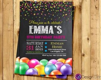 Confetti Balloons Birthday Invitations.Chalk Board.Girl Birthday Invitation / Printable Digital.  #K1032