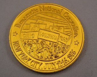 "Vintage 1976 Democratic National Convention Token - Louisiana - 1 1/2"" Dia"