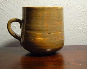 Khaki and cream stoneware mug
