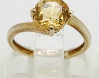 Vintage 9ct 9k Gold Large Citrine Solitaire Ring Size 4 3/4 - J+