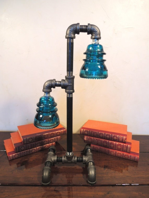 Steampunk vintage industrial lamp table art by for Gas pipe lamp