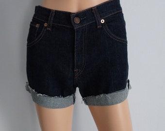High waisted shorts, Levis 525 vintage dark blue stretch denim jean shorts, cut off cuffed frayed hotpants, Small waist 27 28