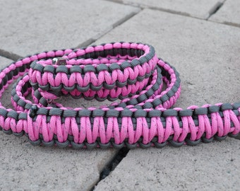 Graphite and Pink Reflective Paracord 6ft Dog Leash