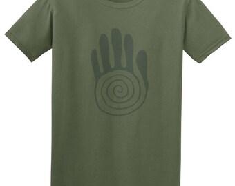 Mans t shirts - tribal tattoo shirt mens, music festival clothing, hipster clothing, graphic tshirt, reiki healing, yoga clothes, green tee