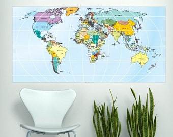 World Map Rectangular Decal - Large World Map Vinyl Wall Sticker - World Map Wall Sticker
