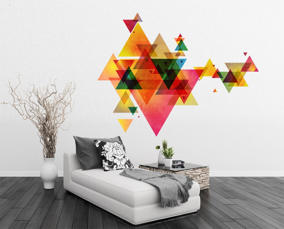Geometric Design Wall Art : Triangle decal geometric vinyl wall art mid century