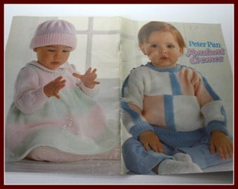PETER Pan Knitting Patterns for Babies /Infants /Toddlers, baby girls, boys, toddler girls and boys, Fondant Cremes
