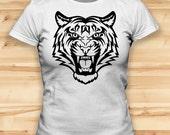 Tiger Lion Face  Womens Tshirts  Animal Tshirt  Animal Clothing  Animal Clothes  Funny T Shirt  Womens Graphic Tee