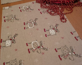 Set of Two Linen Christmas Placemat