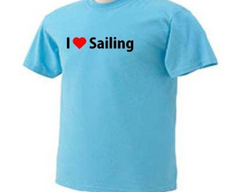 I Love Sailing Sailboat Beach Ocean Activity T-Shirt