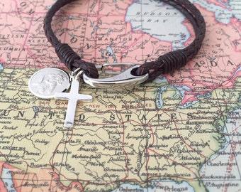 Men's Leather Bracelet- Engraved- Saint Christopher Medal- Protection Bracelet- Personalized Gift -Religious Jewellery