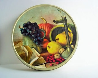 Carver Fruitcake Tin Matching Serving Tray Country Décor