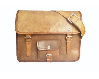 """13"""" Handcrafted Briefcase Leather Laptop Satchel Bag, Leather Shoulder Bag"""