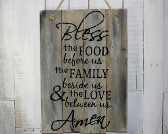 Bless this Food and Family Hand Painted Reclaimed Pallet Wood Sign