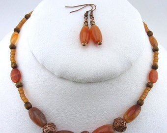 Carnelion, Sponge Coral & Copper Necklace and Earring Set - S009MFL