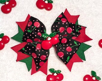 """Cherry Hair Bow - Stacked 5.5"""" Boutique Pinwheel Hair Bow w Cherries Embellishment - Cherry Ribbon - Summer, Photography Prop, Girls, Baby"""