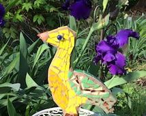 Yellow & Green Wood Mosaic Duck Art Decor for Forest Woodland Nursery, Standing Bird Goose Cute Kitchen Decor, Adventure Animal Knic Knack