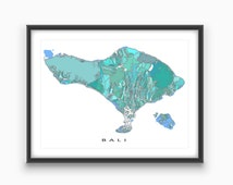 Bali Art, Bali Map Print, Southeast Asia, Indonesia, Travel Artwork
