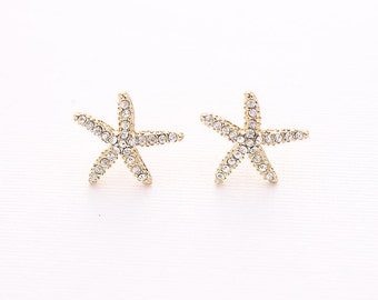 Gold Starfish Earrings Beach Wedding Bridal Bridesmaid Crystal Starfish Earring Accessory Nautical Rhinestone Gold Beach Jewelry