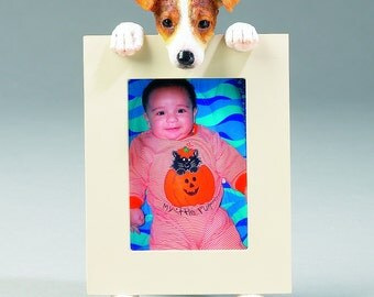 Jack Russell Terrier Picture Frame makes a Perfect gift for Jack Russell Terrier Lovers- Hand Painted Holds a 2 1/2 x 3 1/5 Picture