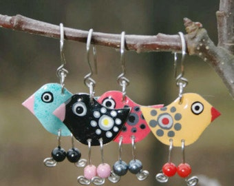 Funny Earrings, Stainless Steel Bird Earrings Whimsical Earrings Whimsical Jewelry Playful Colorful Fun Earrings, Fun Jewelry