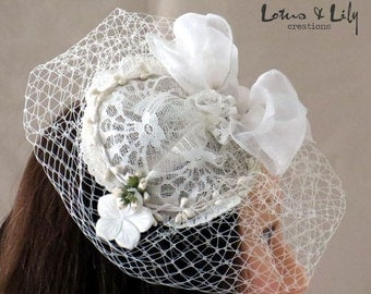 Bridal Fascinator, Headpiece, Cream Ivory, with Garland & Carved Shell Flower. Free Shipping in Australia.