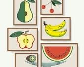 Láminas de frutas, ilustración de frutas en frutero, Láminas con frutas para la cocina, póster de frutas, lámina sandía, póster alimentos