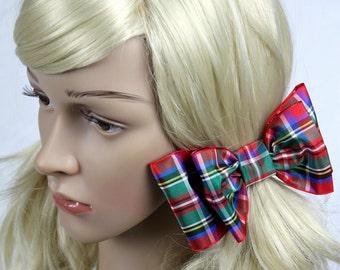 Royal Stewart Tartan Hair Bow, Royal Stewart Hair Bow, Tartan Bow, Plaid Hair Bow, Plaid Bow