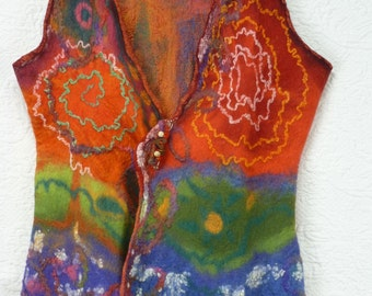 Nuno felted vest , multiple fibers , pure silk, cocoons silk, merino wool, colorful, red , orange, green , blue, pink, Unique, gilet feutré