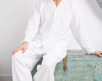 Men's Pajamas - White | premium quality nightwear, 100% cotton, handmade & ultra-soft sleepsuit | Khasto - the cotton cashmere