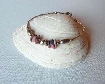 SALE, Vintage Silver Tone Southwestern Bracelet, Pink Jasper Native Bracelet, Silver Bracelet, Vintage Bracelet, Simlpe Native Jewelry