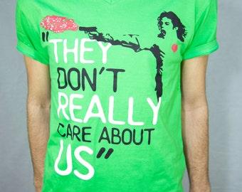 Michael Jackson Tshirt - Smooth Criminal | MJ Inspirational Shirt, Music Quote, Hand Screen Print Shirt - V-neck Men/Boys 100% Combed Cotton