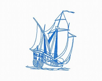 boat redwork machine embroidery