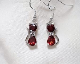 Cat Earrings - Crystal Cat Earrings - Red Crystal Cat Earrings -