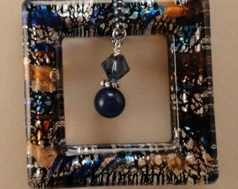 Multi Color Open Square Pendant with Montana Blue Crystals