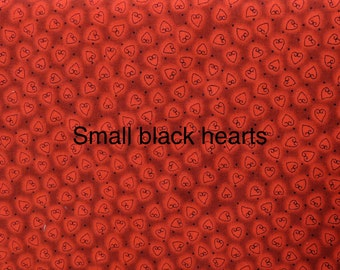 Heart and Soul fabric. Red valentine. quilters cotton quilting STOF hearts 1560