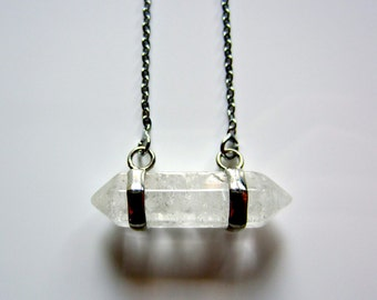 Semi Precious Double Point Clear Quartz Crystal Pendant on Silver Fine Chain Necklace