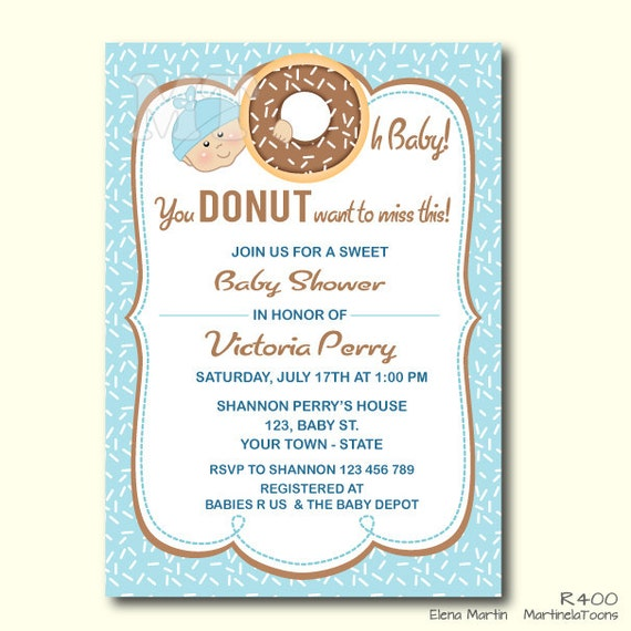 donut baby shower invitation boy baby shower printable brunch, Baby shower