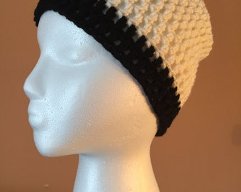 Hand Crocheted Hat, Black and white women's beanie,