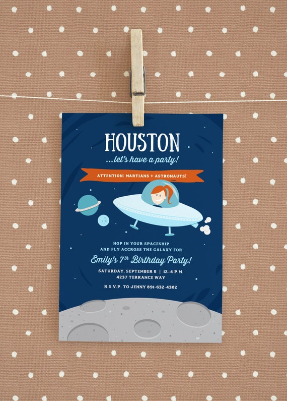 Astronaut space themed birthday party invitation for Space themed stationery
