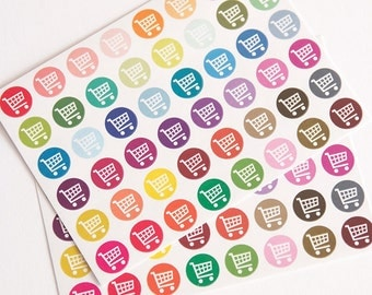 48 shopping stickers, grocery shopping cart stickers, planner stickers, groceries shopping planner eclp filofax happy planner kikkik