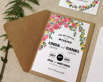 Botanic Roses and Lemon floral rustic watercolor wedding  invitations set printable