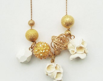 handmade, polymer clay butter popcorn charm necklace. pop collection.