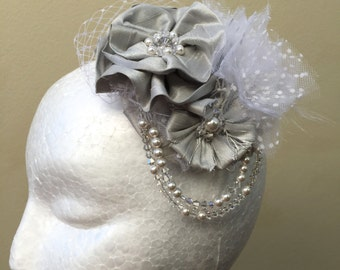 Handmade Silver Bridal Headpiece with Swarovski Beading