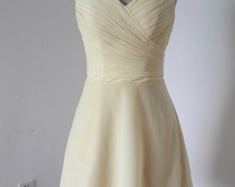 Spaghetti Straps Cream Chiffon Short Bridesmaid Dress