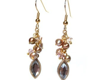 Gold Swarovski and Freshwater Pearl Dangle Earrings